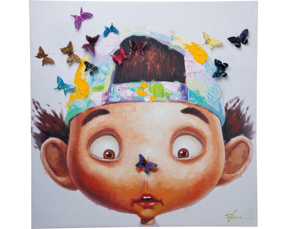 Картина Boy with Butterflies 100x100cm