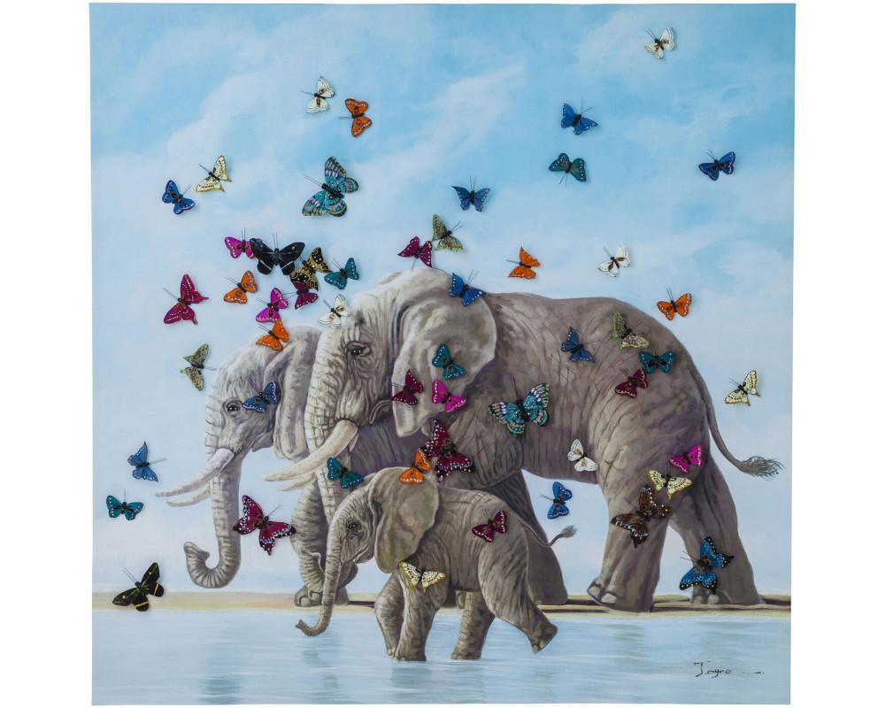 Картина Elefants with Butterflies 120x120cm