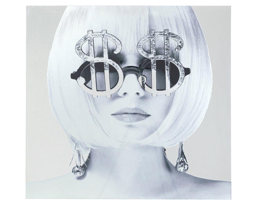 Картина стеклянная  Metallic Dollar Girl 120x120cm