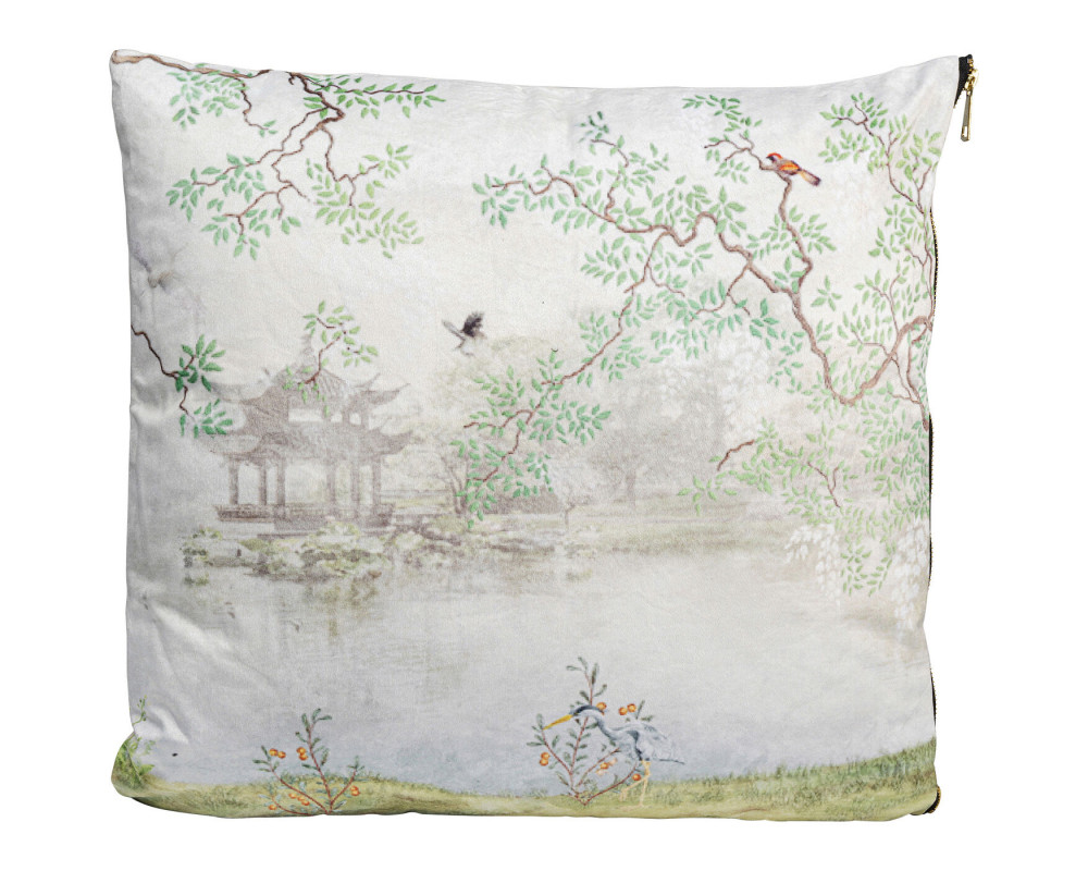 Cushion Chinese Garden White 45x45
