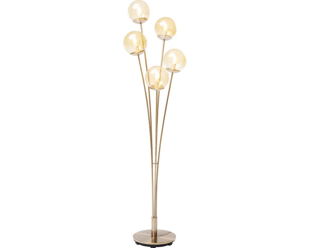 Floor Lamp Five Balls Amber Brass