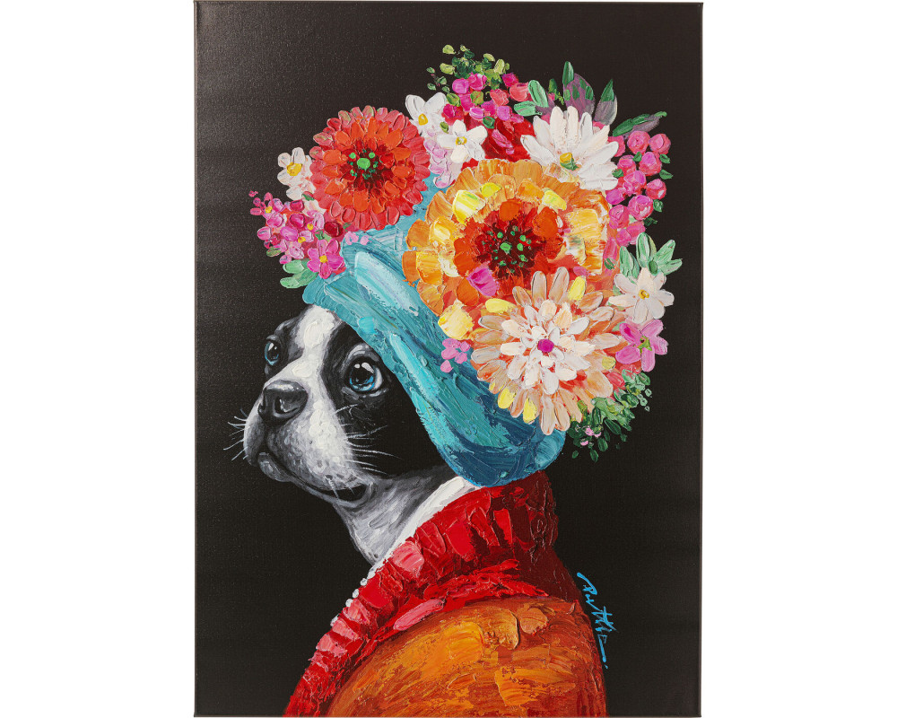 Canvas Picture Flowery Dog 70x100cm