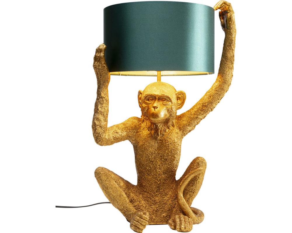 Table Lamp Animal Holding Monkey Gold
