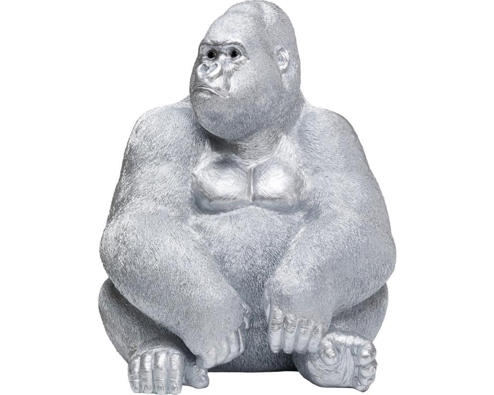 Deco Figur Monkey Gorilla Side XL Silver Matt