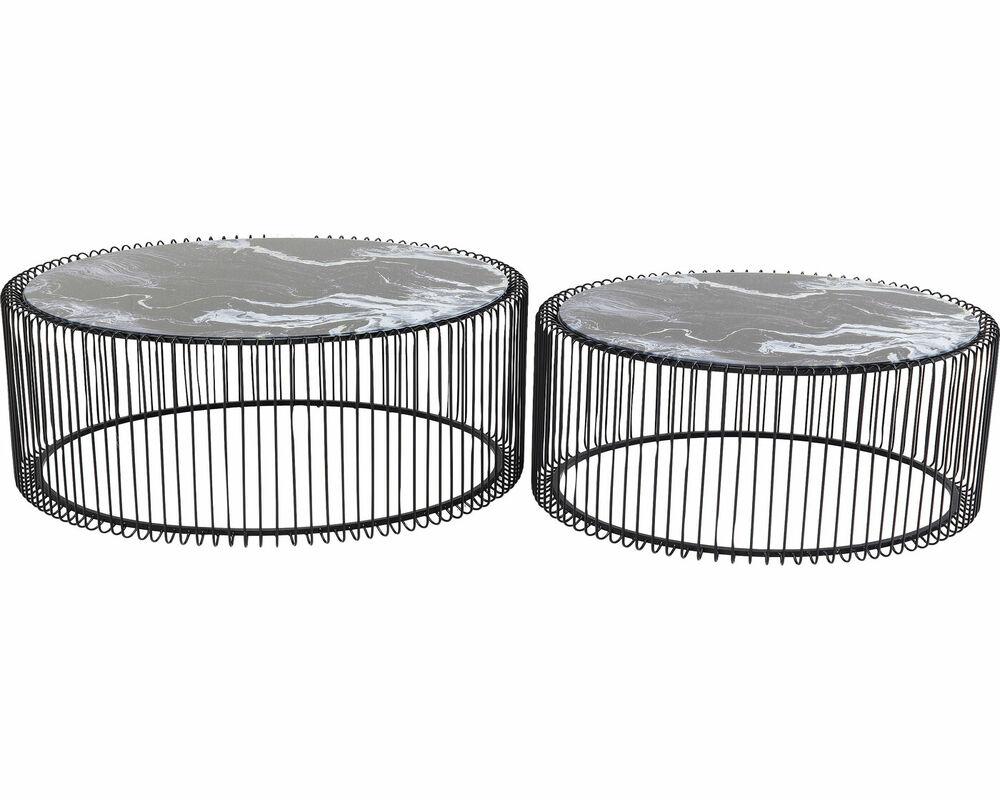 Стол кофейный Wire Glass Marble Black (2/Set)