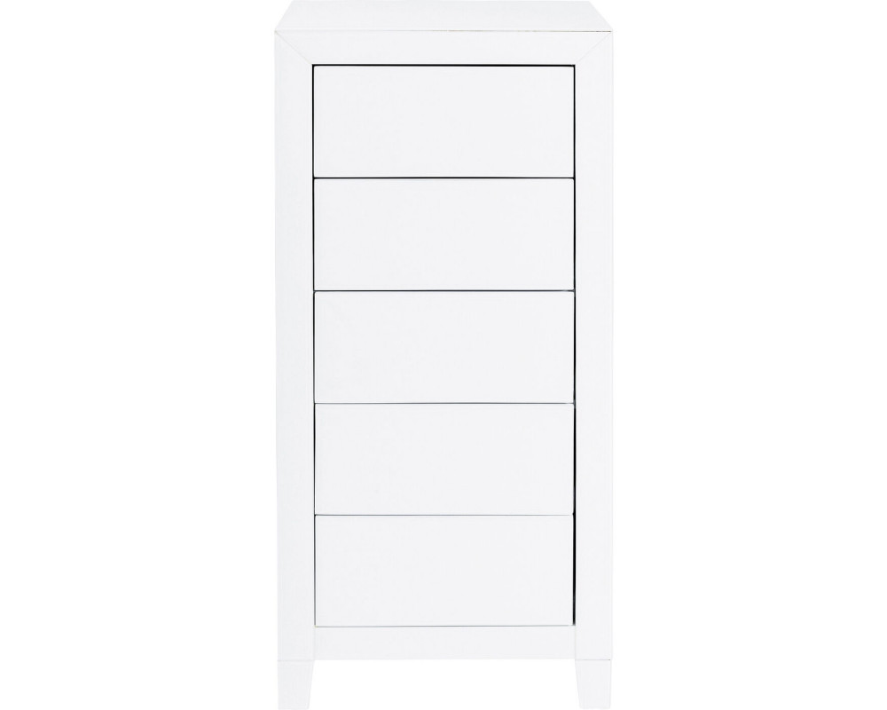 High Dresser Luxury Push 5 Drawers White