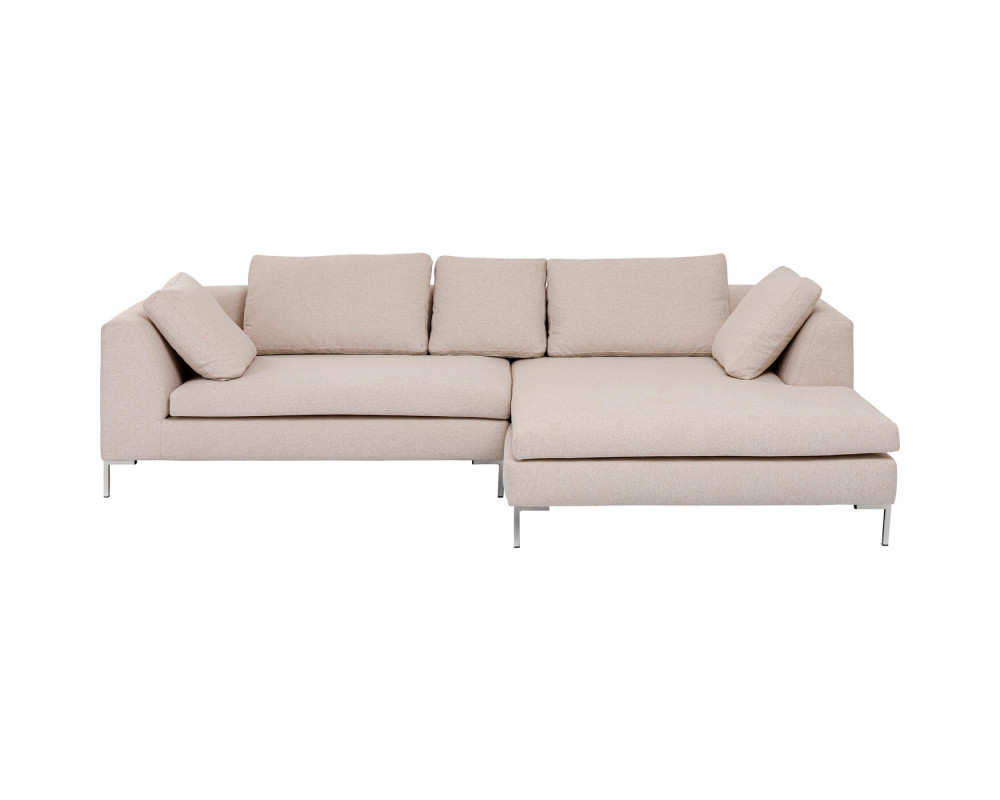 Corner Sofa Gianni Creme Right Chrome