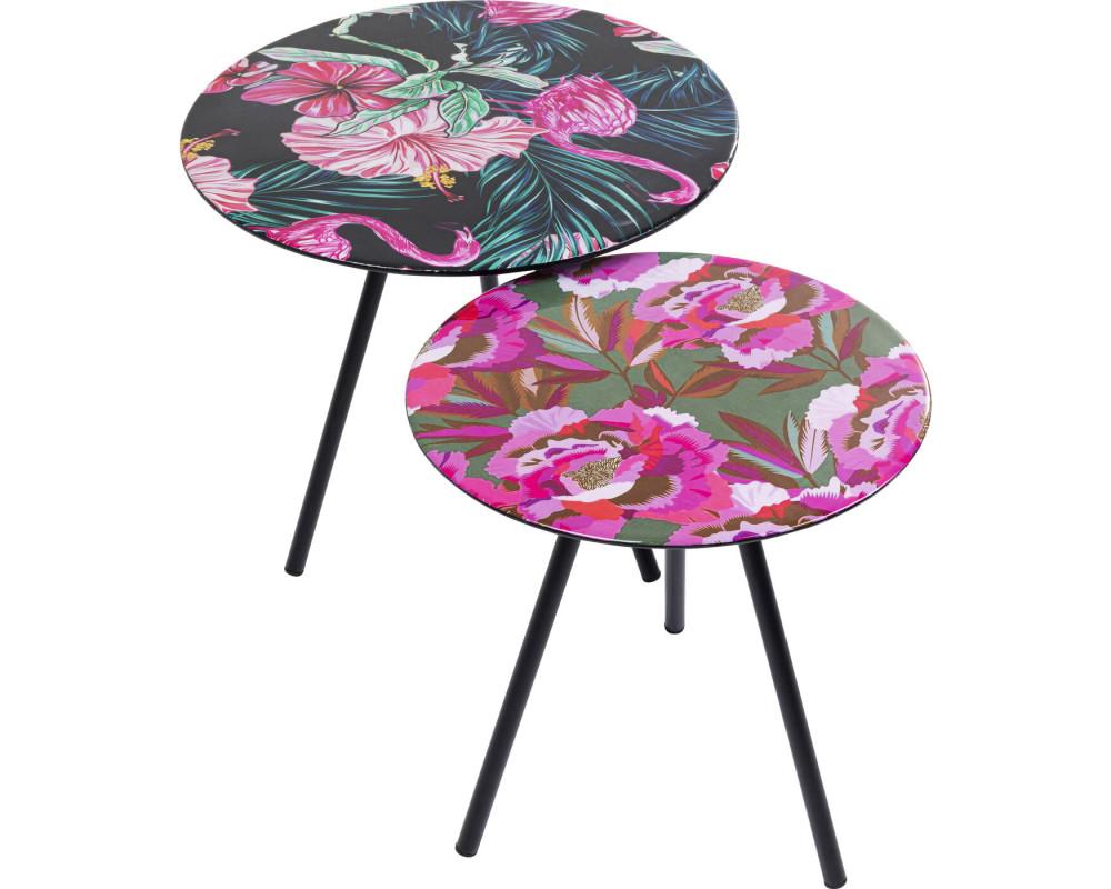 Side Table Flamingo Flower (2/Set)