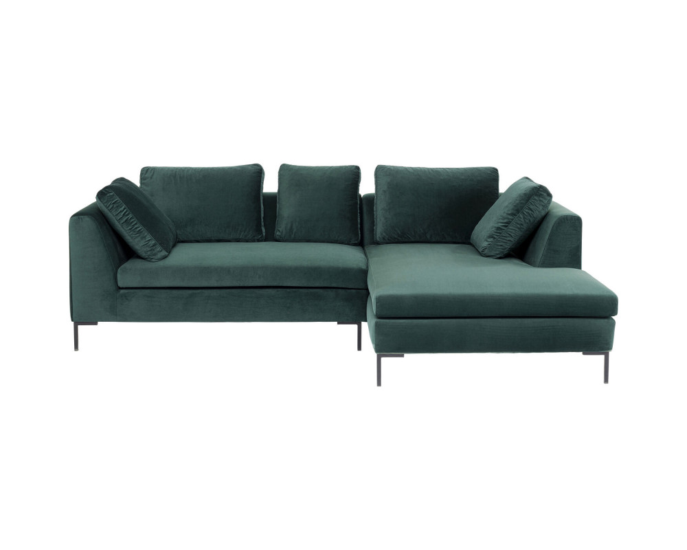 Corner Sofa Gianni Small Velvet Green Right