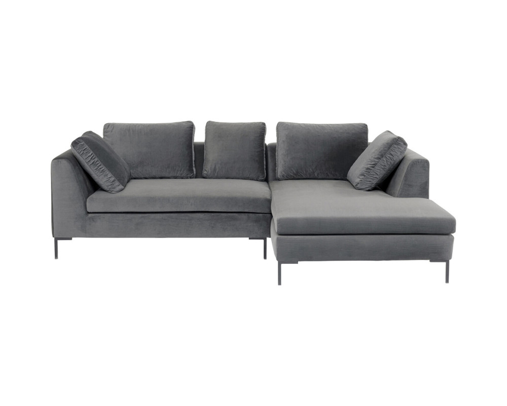 Corner Sofa Gianni Small Velvet Grey Right